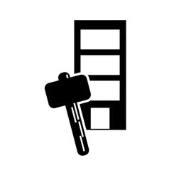 building and hammer icon vector image