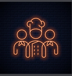 chef team neon sign restaurant chefs neon concept vector image