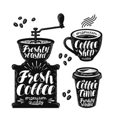 Coffee grinder espresso label set cafe hot vector