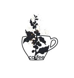 Coffee symbol art logo with cup vector
