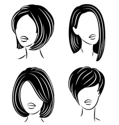 collection silhouette a head a sweet lady vector image