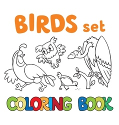 Coloring book with birds vector image