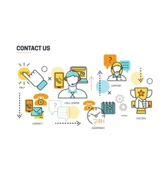Contact Us Lines Composition vector