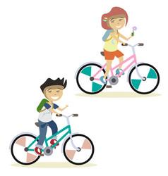 Cute children on bike vector