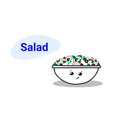 cute vegetable salad bowl cartoon comic character vector image