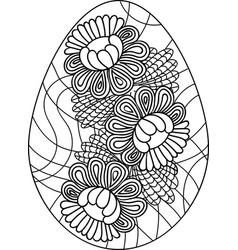 Doodle coloring book page easter egg with flowers vector