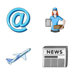 email symbol courier with parcel postal airplane vector image