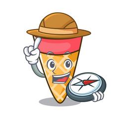 explorer ice cream tone mascot cartoon vector image