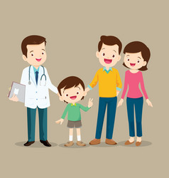 Family visiting doctor vector