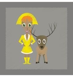 Flat shading style icon christmas girl deer vector