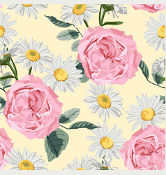 floral seamless pattern with roses and camomile vector image