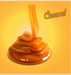 Flowing stream of golden caramel on a yellow vector