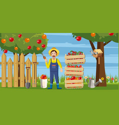 gardener harvest icons set cartoon style vector image