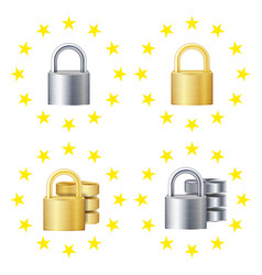 gdpr sign set padlock security technology vector image