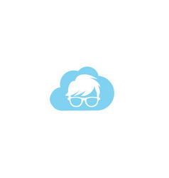 geek head with hairstyle wearing glasses for logo vector image