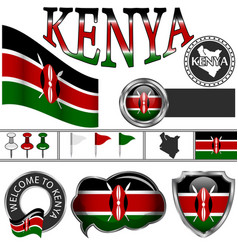 Glossy icons with flag of kenya vector