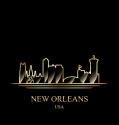 gold silhouette new orleans on black background vector image