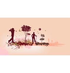 Golf Silhouettes in pink background vector image