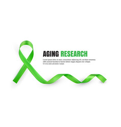 Green aging research awareness symbolic ribbon vector