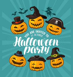 halloween party invitation holiday banner vector image