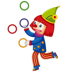 Happy clown juggling colorful rings on white vector
