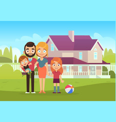 happy family on background house father vector image
