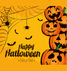 happy halloween card with pumpkins and spiderweb vector image
