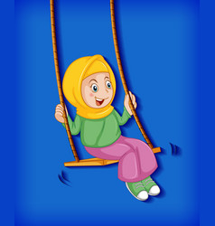 Happy muslim girl sit on swing vector