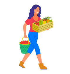 harvesting woman with box filled with vegetables vector image