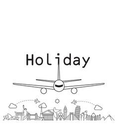 holiday landing plane landmark background i vector image