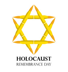 Holocaust remembrance day may 5 jewish star made vector