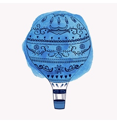 Hot air balloon with watercolor round ele vector