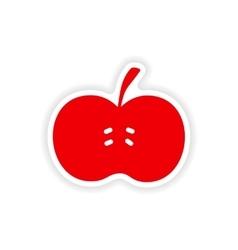 Icon sticker realistic design on paper apple vector