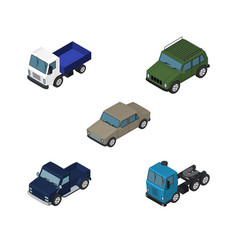 isometric car set of auto armored lorry and vector image