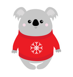 koala in red ugly sweater with snowflake merry vector image