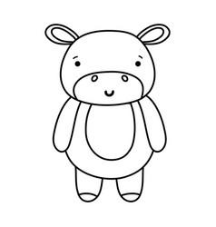 Line cute and happy hippopotamus wild animal vector