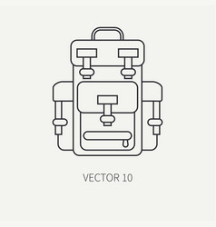 Line flat hunt and camping icon - backpack vector