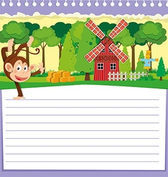 Line paper design with monkey and barn vector image