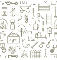line pattern farmer gardening tools vector image