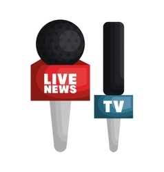Live news microphone press vector