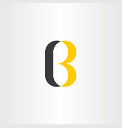 logotype letter b black yellow sign logo vector image