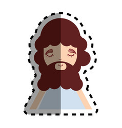 man with beard and casual cloth icon vector image
