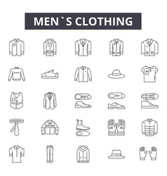 Mens clothing line icons signs set vector