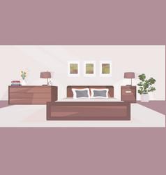 Modern bedroom interior empty no people house room vector
