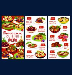 Moroccan food menu template morocco cuisine vector
