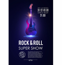 music poster with electirc quitar shining rock vector image