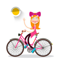 nice redhead woman on bicycle happy pretty girl vector image