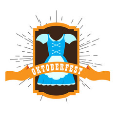 oktoberfest label with a traditional dress vector image