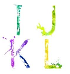 paint splash font IJKL vector image
