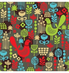 Pattern with cute birds and pretty flowers vector image